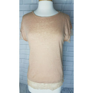 Zara Collection short sleeve lace hem pink top L